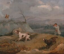 "oil painting handpainted on canvas ""A man going hunting with two dogs""@N258"