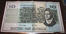 """VINTAGE """"AUSTRALIA 10 DOLLARS, GREEETINGS FROM AUSTRALIA"""" LINEN-COTTON TEA TOWEL"""