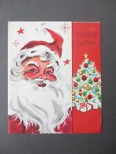 Vintage CHRISTMAS Card 1960s Santa Claus Father Christmas & Tree