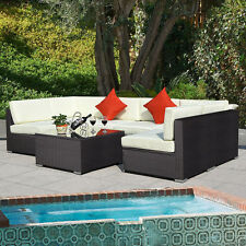 Outdoor 7PC Furniture Sectional PE Wicker Patio Rattan Sofa Set Couch Brown