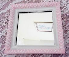 Shabby Chic Square Wood Wall Framed Mirror Hand Painted Pink