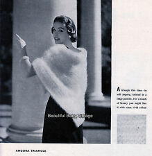KNITTING PATTERN Ladies Vogue Shawl Stole Wedding Angora Wrap Vintage 1950s COPY