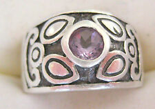 ESTATE BOLD STERLING SILVER AMETHYST RING ARTISAN HAND MADE ROSE DE FRANCE