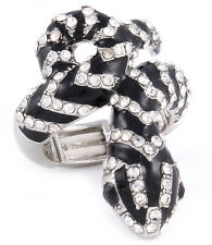 Black & Clear Crystal Snakes Adjustable Stretch Fashion Silver Ring