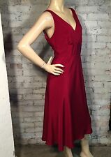 J.CREW SOPHIE DRESS 12 (L) SILK TRICOTINE EMPIRE RED SLEEVELESS BRIDESMAID