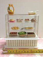 Dollhouse Miniature Furniture White Wood Display Shelf Cabinet (NO FOOD) 1:12