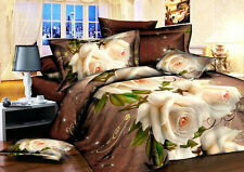 Sale Home Duvet Cover Quilt Cover Pillowcase Bed Set Queen Size Withe Rose L