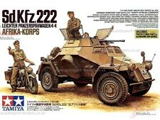 1/35th scale Sd.Kfz.222 with DKW NZ350 motorcycle and figures by Tamiya 35286
