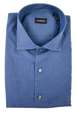 New ERMENEGILDO ZEGNA Solid Blue Extrafine Cotton Button Down Shirt 2XL NWT $395