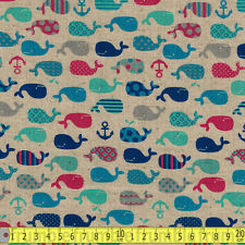 Cosmo Textiles Fabric Whales & Anchors Natural Pink Metre PER METRE Nautical Sea
