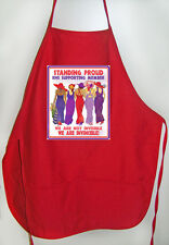 """RED LONG APRON """"STANDING PROUD"""" FOR RED HAT LADIES OF SOCIETY TEAS OR LUNCHEON"""