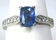 UNTREATED Blue Sapphire Ring 14K white gold Antique 1.91ct. CERTIFIED Ap $3,991