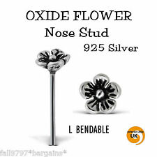1 x  Sterling SILVER Oxide Flower  NOSE STUD  20g 6mm Nose Straight  L Bendable