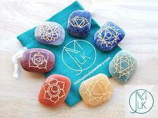 Charged Crystal 7 Chakra Unshaped Set Engraved Gemstones with Pouch Healing