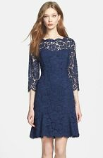 ELIZA J TULIP SCALLOPED LACE NAVY FIT & FLARE  DRESS sz  14