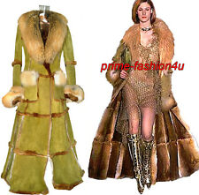 John Galliano Christian Dior Fox & Orylag Fur Olive Distressed Suede Long Coat