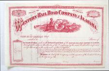Western Railway of Alabama Preferred Stock Certificate 1870s