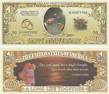 Happy Anniversary Million Dollar Bill Novelty Collector Note