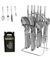 24 PIECE KITCHEN STAINLESS STEEL CUTLERY SET TABLEWARE DINING WITH STAND