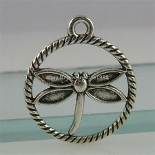 12386 30PCS Vintage Silver Alloy Insects Dragonfly Pendant Charms in Round Ring