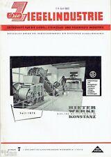 Ziegelindustrie  Zeitschrift Ziegel Steinzeug & feuerfeste Industrie Heft 7 1960