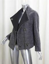 GERARD DAREL Womens Gray Tweed Wool Snap Classic Jacket Coat 34 NEW