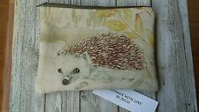HANDMADE VOYAGE HEDGEHOG FABRIC. AND 100 %  WOOL MAKEUP BAG, OR STORAGE POUCH