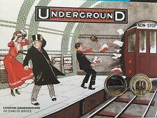 2013 RM 150th ANNIV of London Underground Chignon 2 X £ 2 Coin & Primo giorno di copertura fatto rintracciare