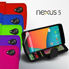 6 Colour Side ID Wallet Leather Case Cover for LG Google Nexus 5 D821+ Screen Gd