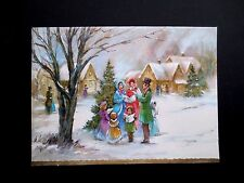 Vintage Unused Xmas Greeting Card Victorian Family Carolers Singing Songs