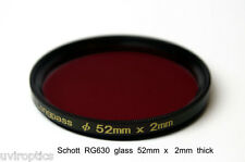 Schott RG630,  52mm x 2mm thick, 630nm Infrared Longpass Filter, Color IR
