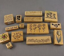 Lot of 14 Rubber Stamps Mounted on Wood Scrapbooking Card Making Paper Crafts