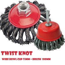 STEEL TWIST-KNOT BOWL CUP + WIRE BRUSH ANGLE GRINDER M14 SCREW SET 6MM U322