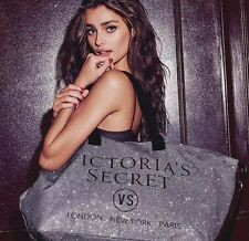 Victorias Secret 2015 Limited Edition Glitter Weekender Tote Bag SILVER NEW