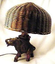 Art Deco Elephant Lamp Figural Pot Metal Wicker Shade To Repair Restore As Is