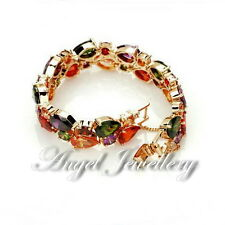 18k Gold Swarovski Zircon Elements Kristall Mode Schmuck Armband Bunte Frauen