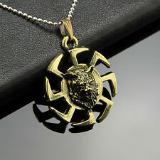 Retro Bronze Tiger Head Spiral Pendant Men's Necklace With Leather Chain