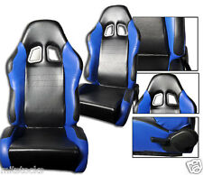 NEW 2 BLACK & BLUE PVC LEATHER RACING SEATS RECLINABLE W/ SLIDER ALL CHEVROLET *
