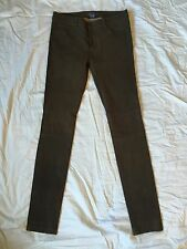 Vince Leather Suede Fall Fashion Pants Jeans Slacks Gray Grey Green - 4