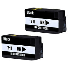 2PK Compatible For HP 711 HP711 Black Ink Cartridges For HP designjet T120 T520