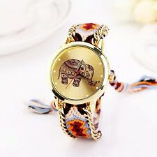 Fashion Womens Bohe Bracelet Watch Ethnic Elephant Printed Leather Quartz Watch