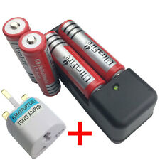 4 X 18650 6800mAh 3.7V Li-ion Rechargeable Battery with 4.2V Charger+UK Adaptor