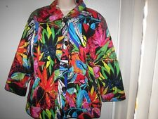 chicos multi bright floral  fully lined 3/4 sleeve buttons jacket top 1 s m