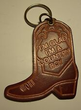 Key Ring with Leather Cowboy Boot Fob