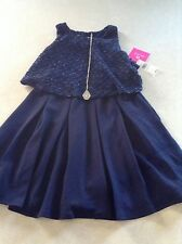 NWT Amy Byer Girl's Navy Blue Dress & Necklace Set Size 14 Holiday