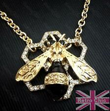 QUIRKY HONEY BEE NECKLACE chain CRYSTAL PENDANT honeycomb GOLD/BLACK/CHAMPAGNE