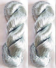 Reel Silk 2 Skeins Yarn Lace Fabric 230g Weaving Thread Knitting Work Scarf Sari