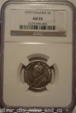 Canada George V KeyDate 1925 Five Cents - NGC AU-55