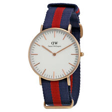 Daniel Wellington Oxford Eggshell White Dial Navy Red NATO ladies Watch 0501DW