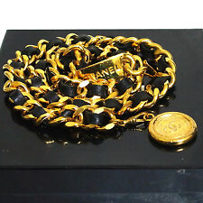 Auth Vintage Chanel Goldtone Medallion Black Leather Chain Belt 80cm/31.4inch Sz